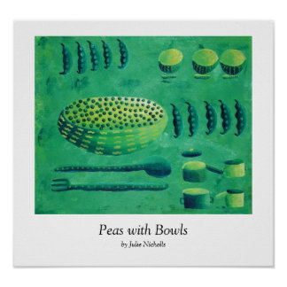 Peas with Bowls Poster