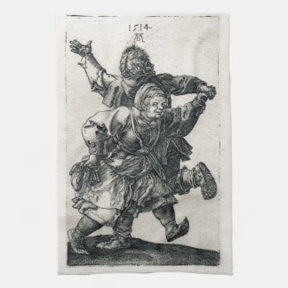 Peasant Couple Dancing by Albrecht Durer Tea Towel