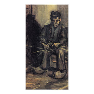 Peasant Making a Basket by Vincent van Gogh Customized Photo Card
