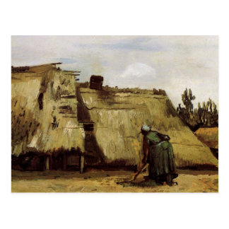 Peasant Woman Digging in Front of Her Cottage  Vin Postcard