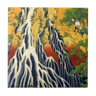 Peasants and Waterfall Ceramic Tile