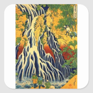 Peasants and Waterfall Square Sticker