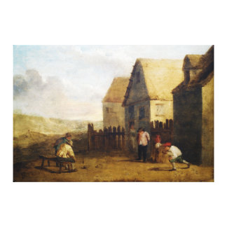 Peasants bowling in front of a tavern gallery wrap canvas
