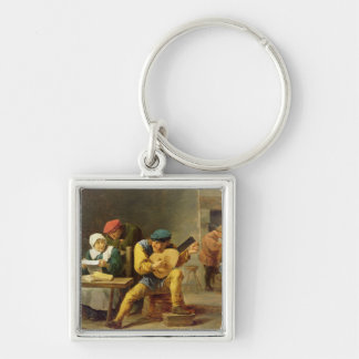 Peasants Making Music in an Inn, c.1635 Silver-Colored Square Key Ring