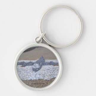 Pebble Aeroplane Silver-Colored Round Key Ring
