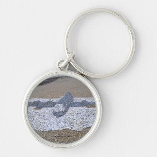 Pebble Aeroplane Silver-Colored Round Key Ring