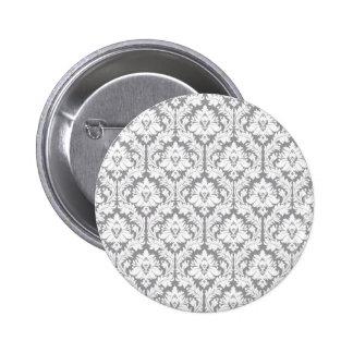 Pebble Grey Damask Pattern Button