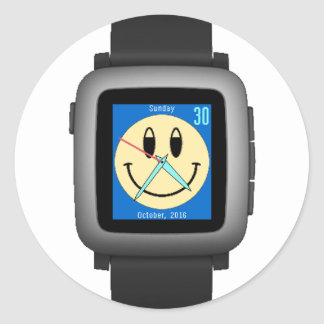 Pebble Time Black Smiley Classic Round Sticker