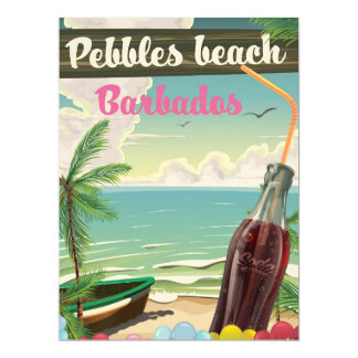 Pebbles beach Barbados vintage style travel poster 17 Cm X 22 Cm Invitation Card