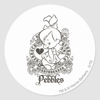 PEBBLES™ Heartbreaker B&W Classic Round Sticker