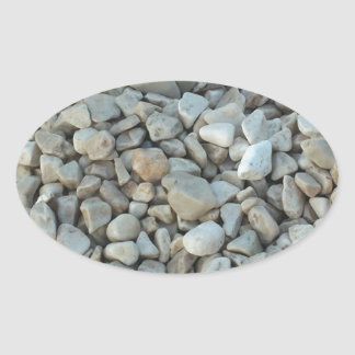 Pebbles on Beach Stone Photography Oval Sticker