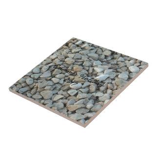 Pebbles on Beach Stone Photography Tile