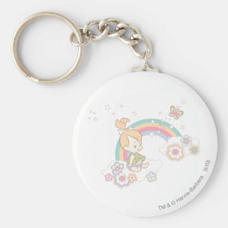 PEBBLES™ Rainbow and Flower Clouds Basic Round Button Key Ring