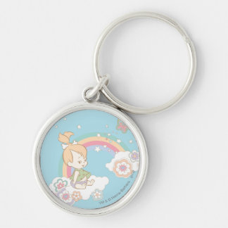 PEBBLES™ Rainbow and Flower Clouds Silver-Colored Round Key Ring