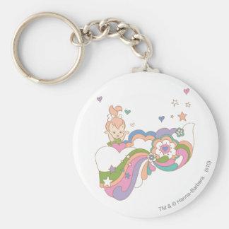 PEBBLES™ Rainbow Cloud Basic Round Button Key Ring