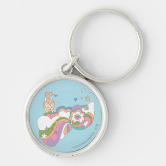 PEBBLES™ Rainbow Cloud Silver-Colored Round Key Ring