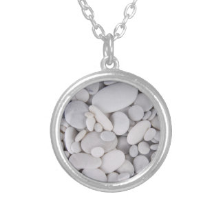 Pebbles, Rocks, Background Silver Plated Necklace