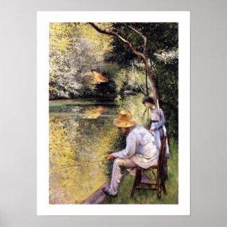 """""""Pêche à la ligne"""" by Gustave Caillebotte Poster"""