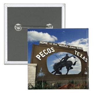 Pecos, Texas sign 15 Cm Square Badge