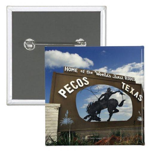 Pecos, Texas sign Pinback Button