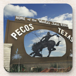 Pecos, Texas sign Beverage Coasters