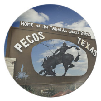 Pecos, Texas sign Dinner Plates