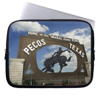 Pecos, Texas sign Laptop Sleeves