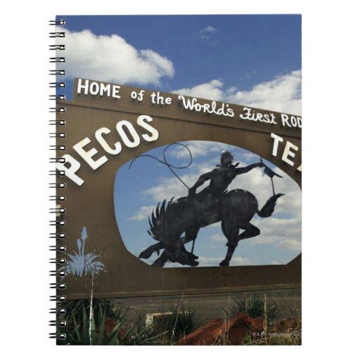 Pecos, Texas sign Note Books
