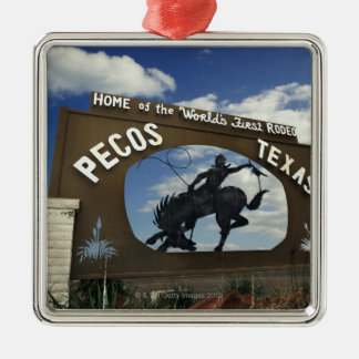Pecos, Texas sign Silver-Colored Square Decoration