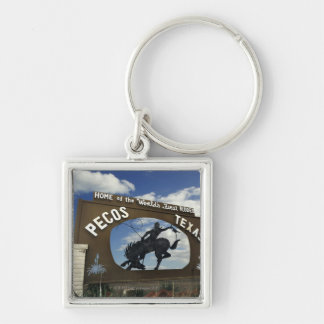 Pecos, Texas sign Silver-Colored Square Key Ring