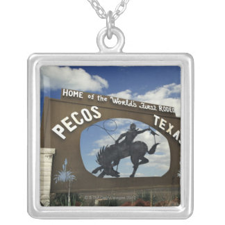 Pecos, Texas sign Silver Plated Necklace
