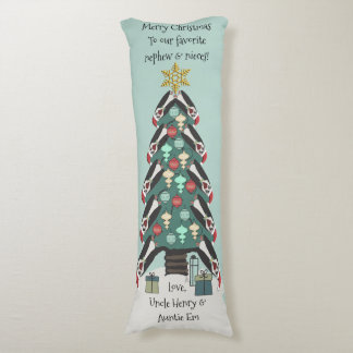 Peculiar Penguins Christmas Tree - Personalized Body Cushion