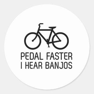 Pedal Faster, I Hear Banjos Round Sticker