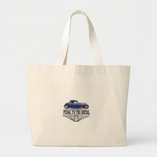 pedal to the metal blue large tote bag
