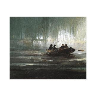 Peder Balke Northern Lights over Four Men Rowboat Canvas Print