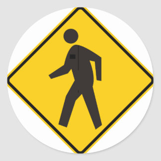 Pedestrian Crossing Highway Sign Classic Round Sticker