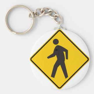 Pedestrian Crossing Highway Sign Key Ring