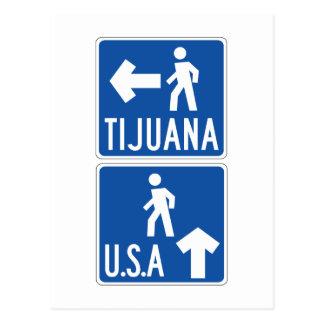 Pedestrian Crossing Tijuana-USA, Traffic Sign, USA Postcard
