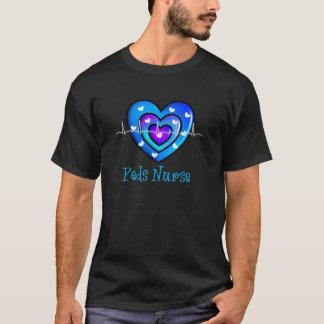 Pediatric Nurse Artsy Blue Heart Design Gifts T-Shirt