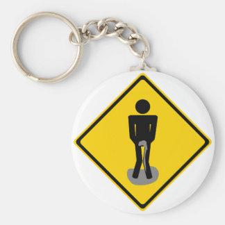 Pee Pants Road Sign Key Ring