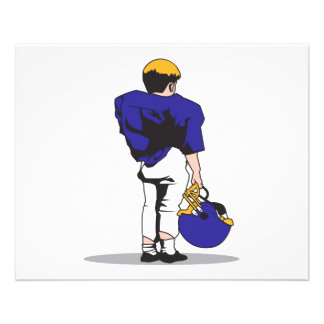 pee wee kids football player blue personalized flyer