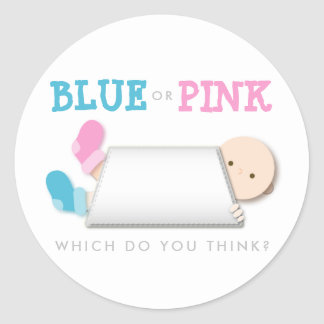 Peek-a-Boo Baby Booties - Gender Reveal Classic Round Sticker