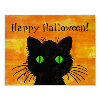 Peek-A-Boo Black Cat on Halloween Orange Poster