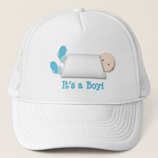 Peek-a-Boo Blue Baby Booties Gender Reveal Trucker Hat