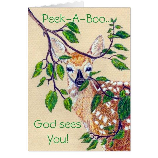 Peek-A-Boo God seesYou Greeting Card