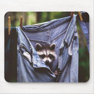 Peek-A-Boo Jeans Raccoon Mouse Pad