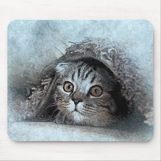 Peek A Boo Kitty Portrait | Abstract | Watercolor Mouse Pad