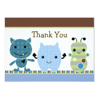 Peek a Boo Monster Baby Shower Thank You Card 13 Cm X 18 Cm Invitation Card