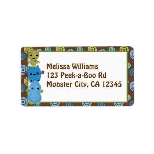 Peek a Boo MONSTERS Address Label PABC envelope