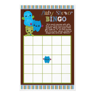 Peek a Boo Monsters Baby Shower Game BINGO Cards 14 Cm X 21.5 Cm Flyer
